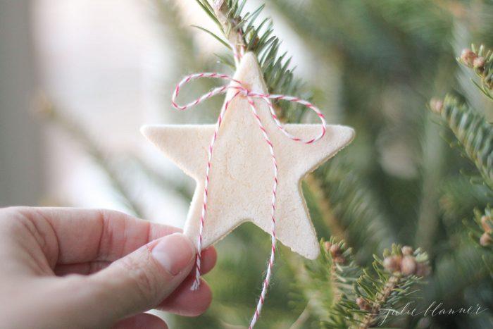 salt dough ornament on tree