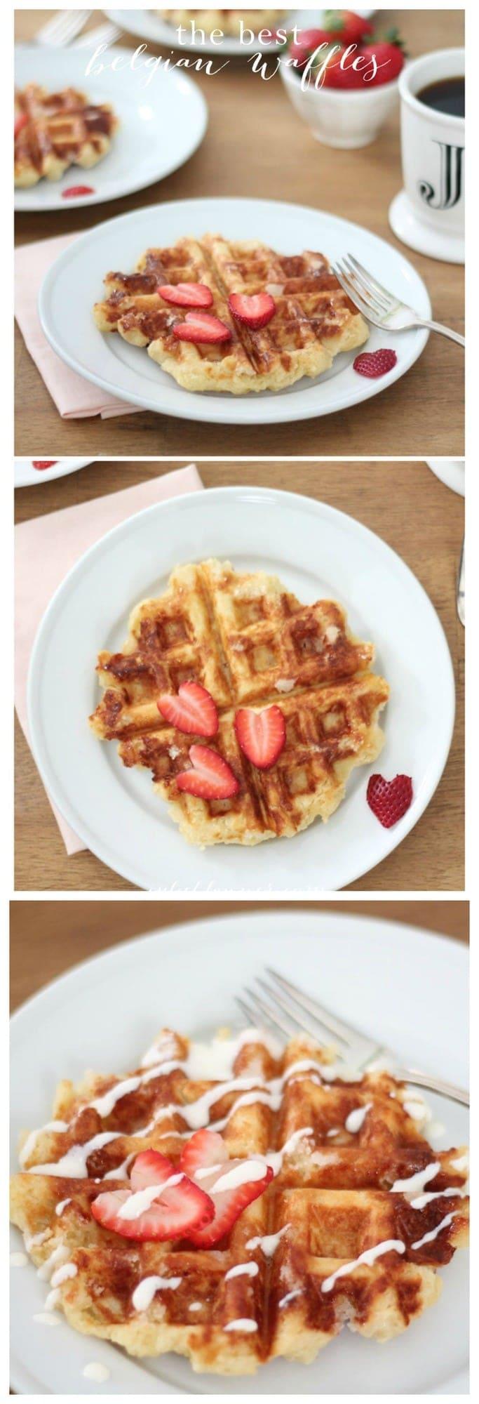 the best Belgian waffle recipe - hands down - with sweet creme fraiche! Great for breakfast, brunch or dessert via julieblanner.com