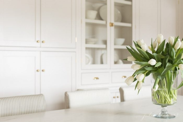 white tulips in kitchen
