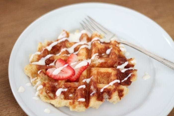 the best Belgian waffle recipe - hands down - with sweet creme fraiche! Great for breakfast, brunch or dessert via julieblanner.com