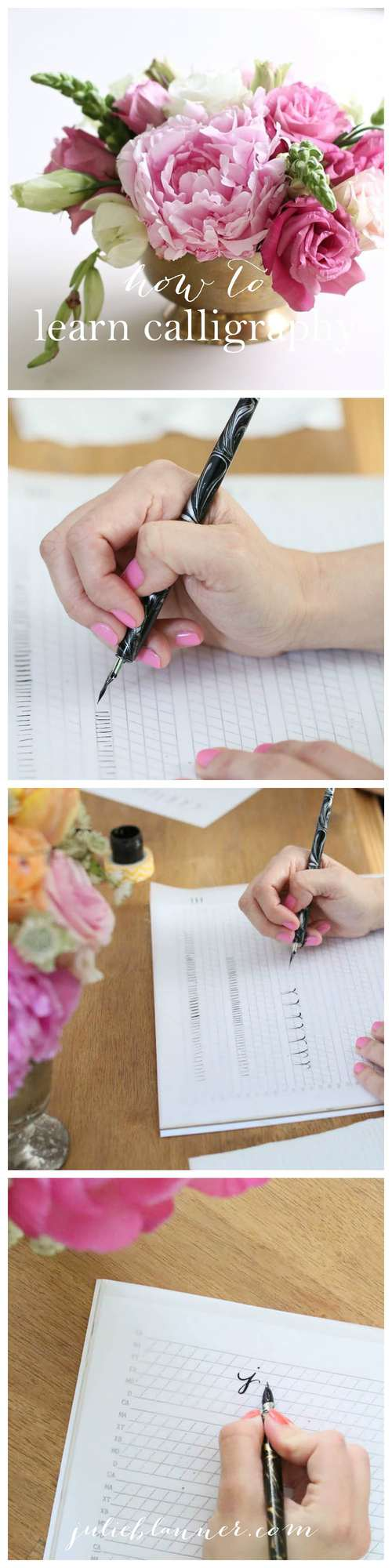 Learn calligraphy from the comfort of your home with this step-by-step tutorial at julieblanner.com