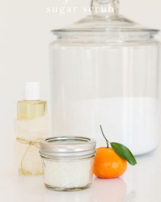 Easy orange mint sugar scrub recipe made in your kitchen with just 3 ingredients