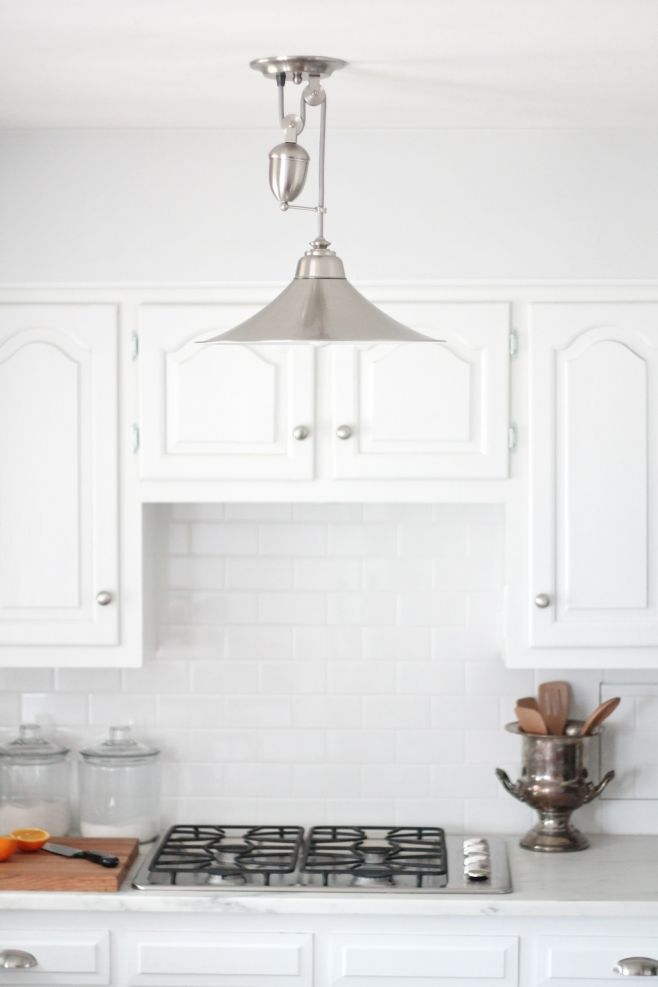Pottery Barn pulley light fixture - adding character to a kitchen