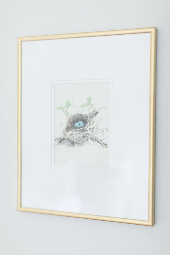 A print of a bird's nest with eggs for an easy easter decoration idea, in a gold frame.
