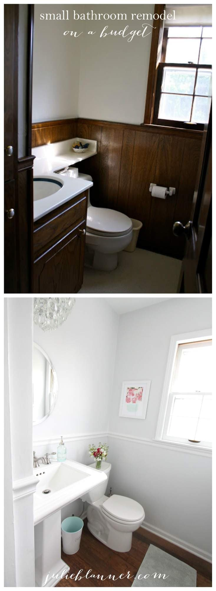 Small bathroom remodel before & after - filled to the brim with space saving ideas on a budget!