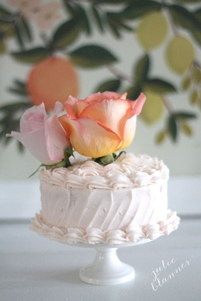 A cake with flowers on top