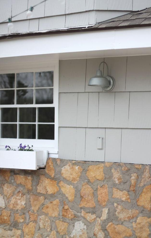 A simple patio makeover | galvanized barn light
