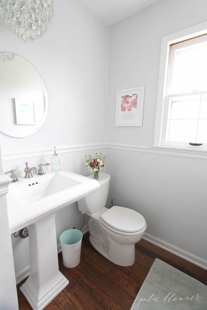 A tiny half bath full of easy ideas!
