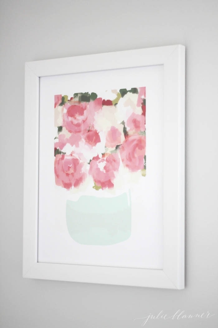 Peony art print with shades of pink & mint