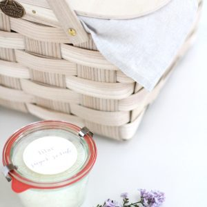 Get the recipe for an all natural lilac sugar scrub that's great for gift giving & can be made in just a few minutes