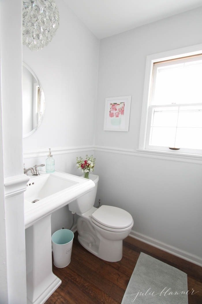 Pretty half bathroom remodel on a budget