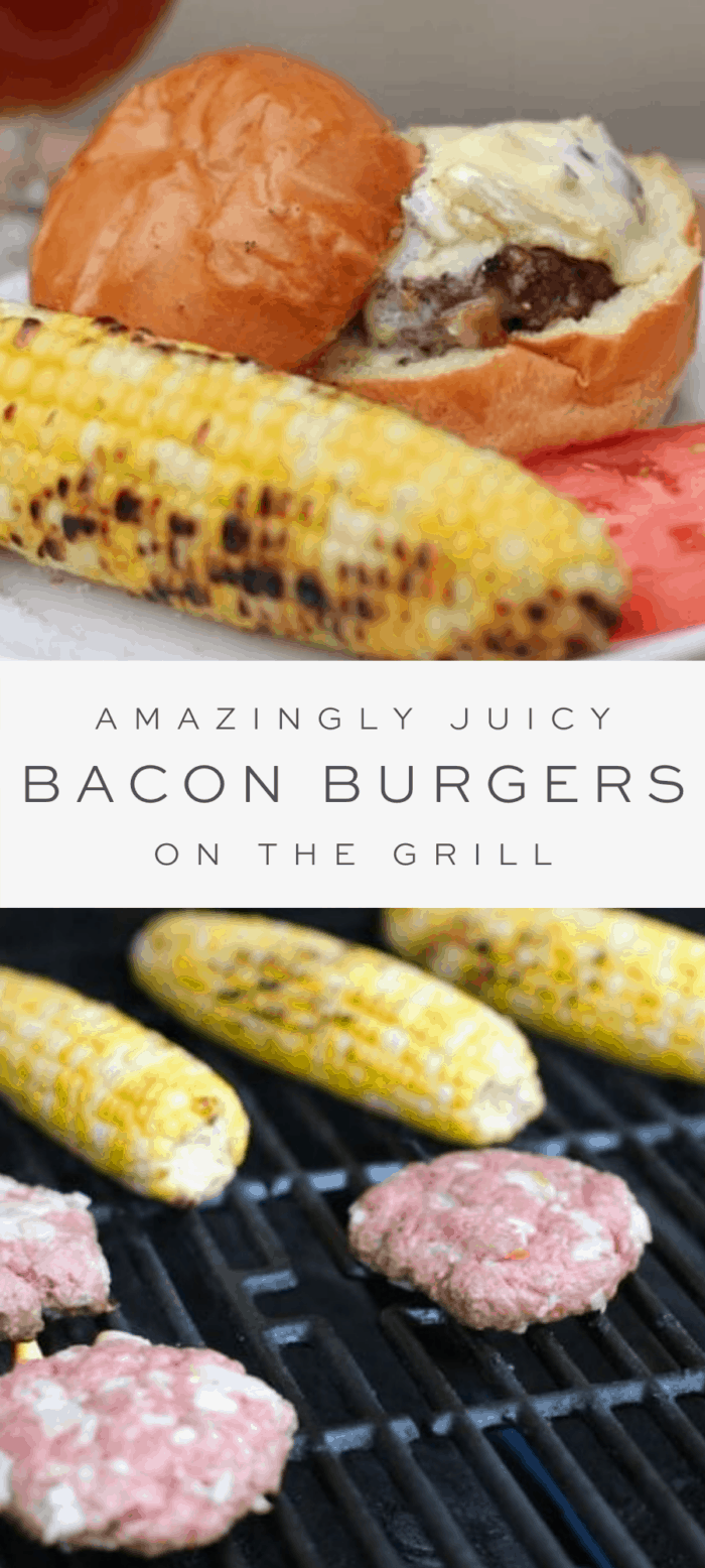 bacon burger with tomato and grilled corn on plate, overlay text, burger patties and corn on the grill close up