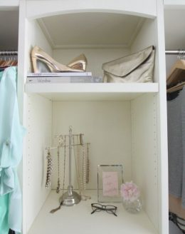Gorgeous walk-in closet created with diy closets systems