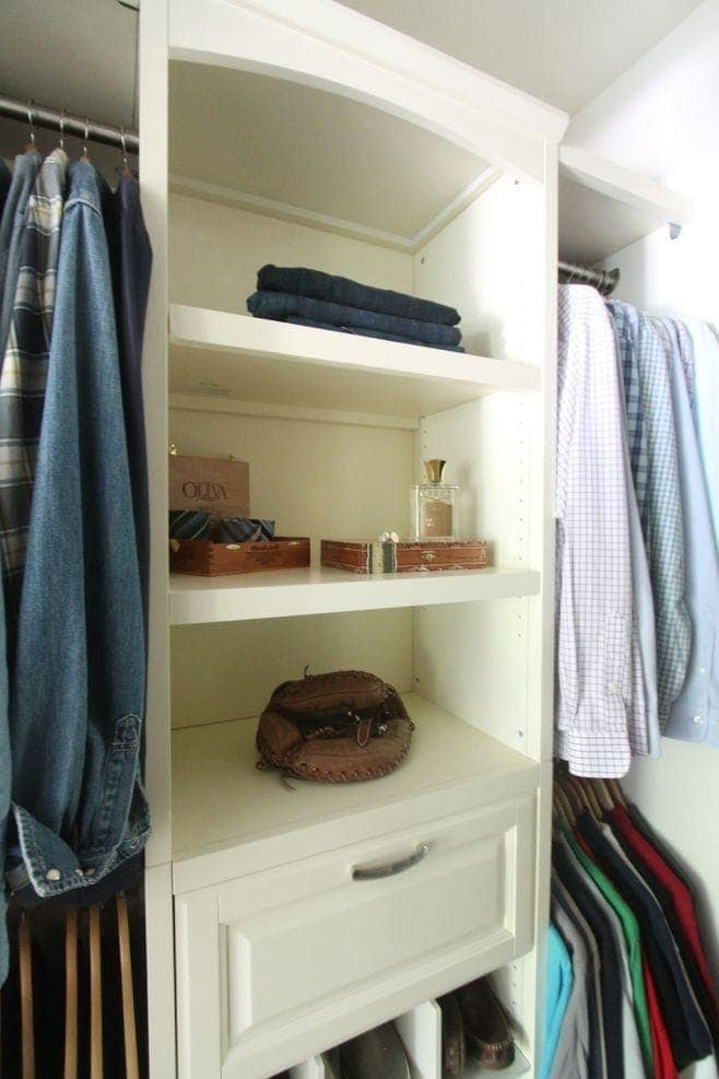 A closet system is great for organization & can make all of your necessities accessible