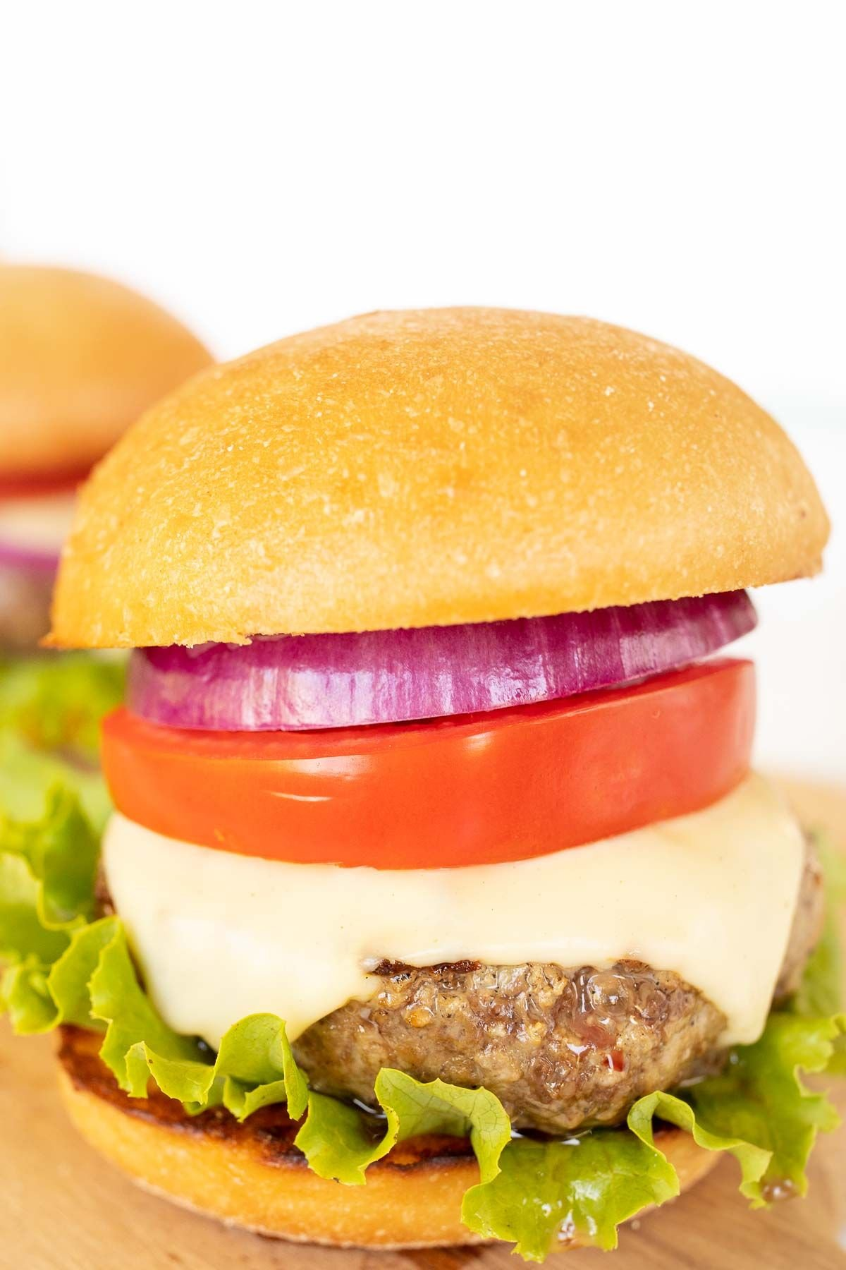 A hamburger stacked with lettuce, tomato, cheese and red onion.