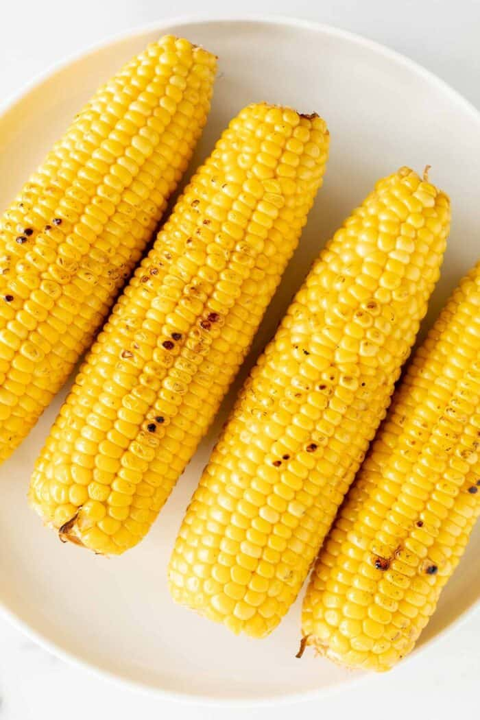 Grilled sweet corn on a white plate.