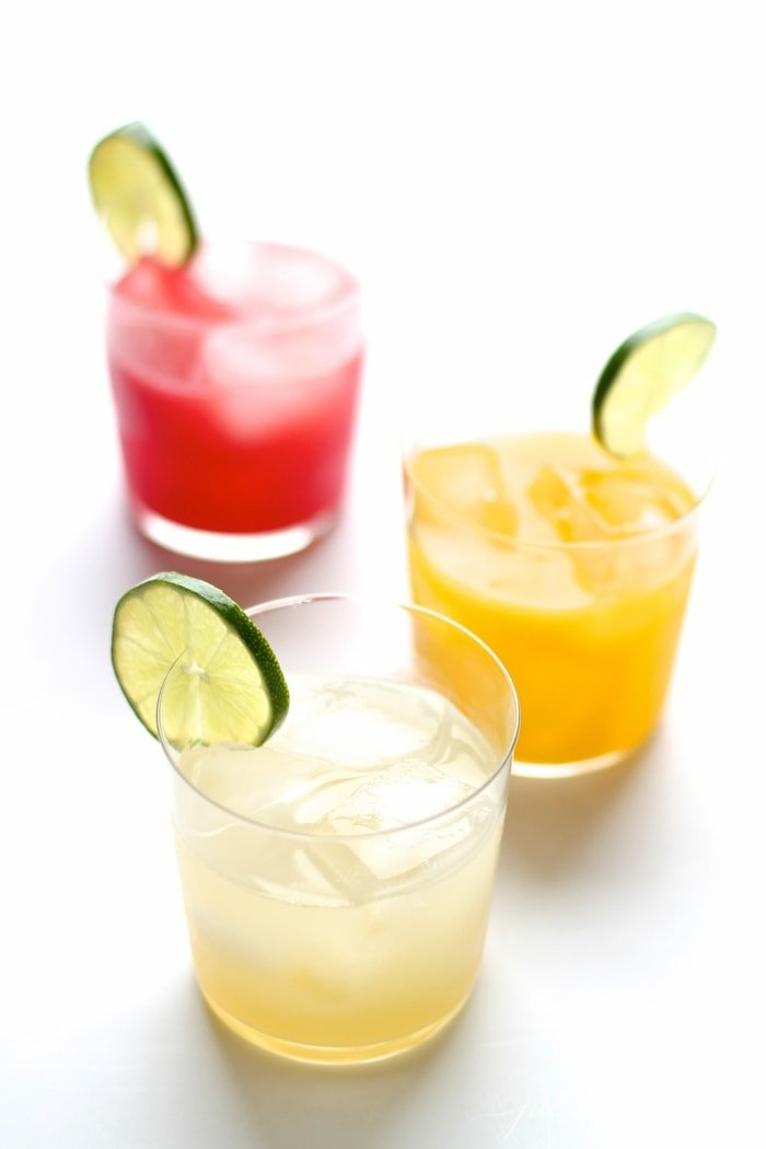 skinny margarita recipe with lime, mango and watermelon