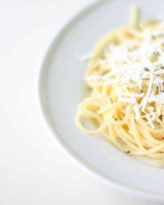 Spaghetti with Mizithra Cheese & Browned Butter | grown up buttered noodles