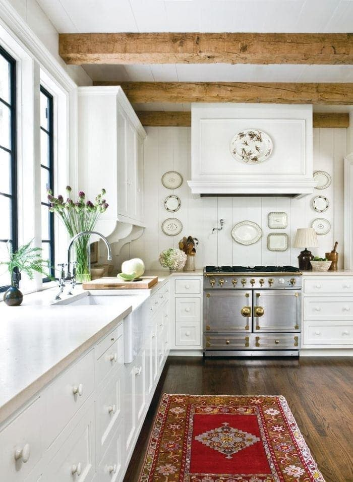 add visual interest to a space with wood beams - it adds character & draws the eye up