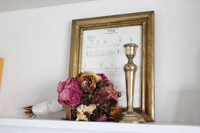 dried wedding bouquet & anniversary gift idea