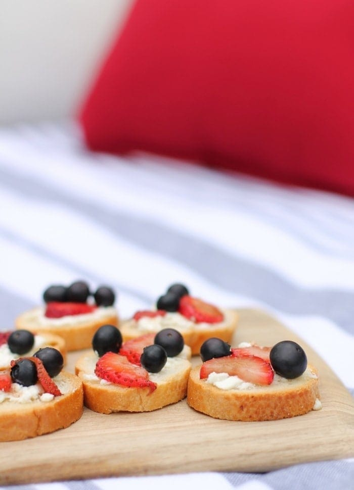 Red White & Blue Bruschetta with berries