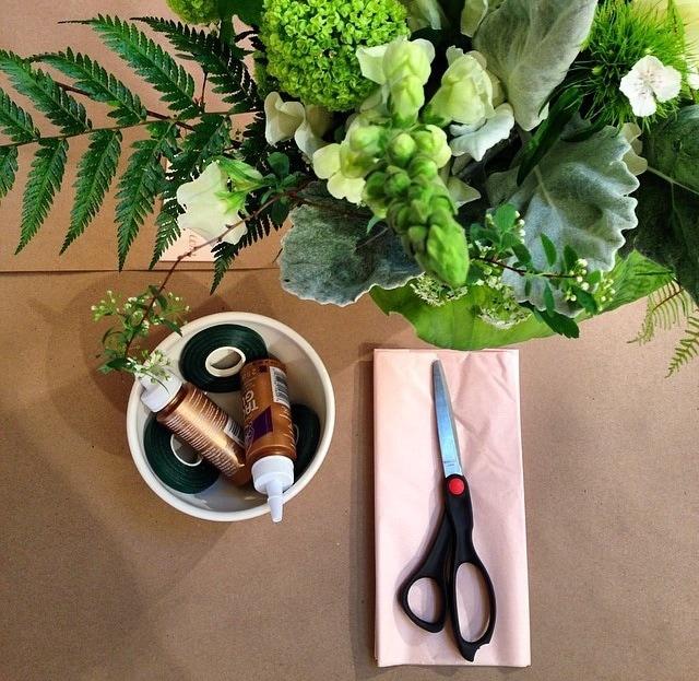glue, floral tape, scissors, and tissue paper
