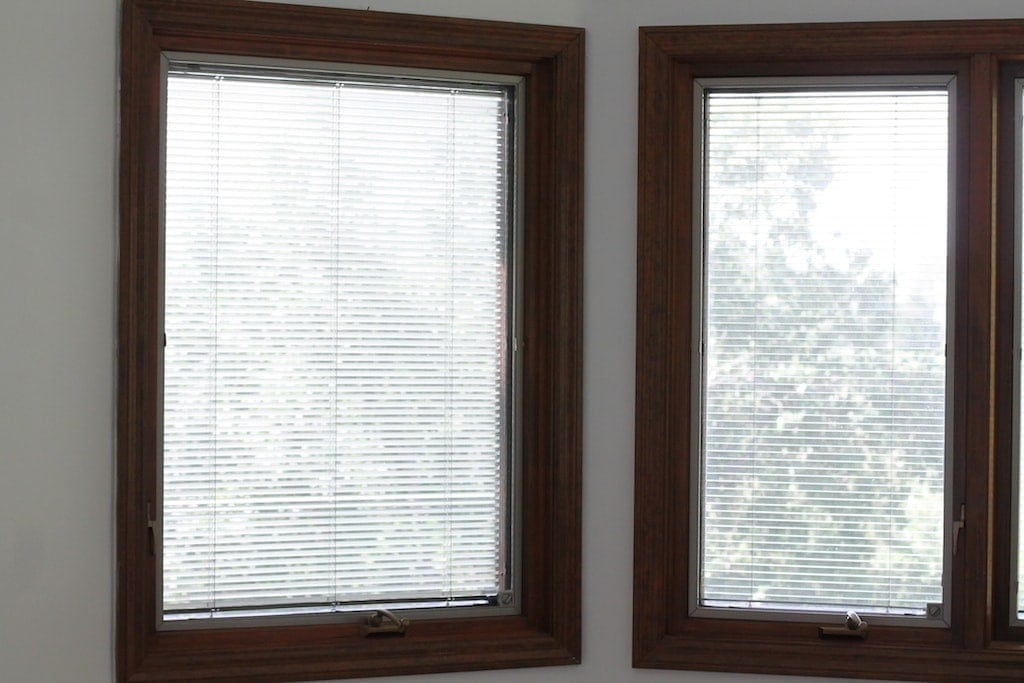 Dark windows with screens and interior blinds.