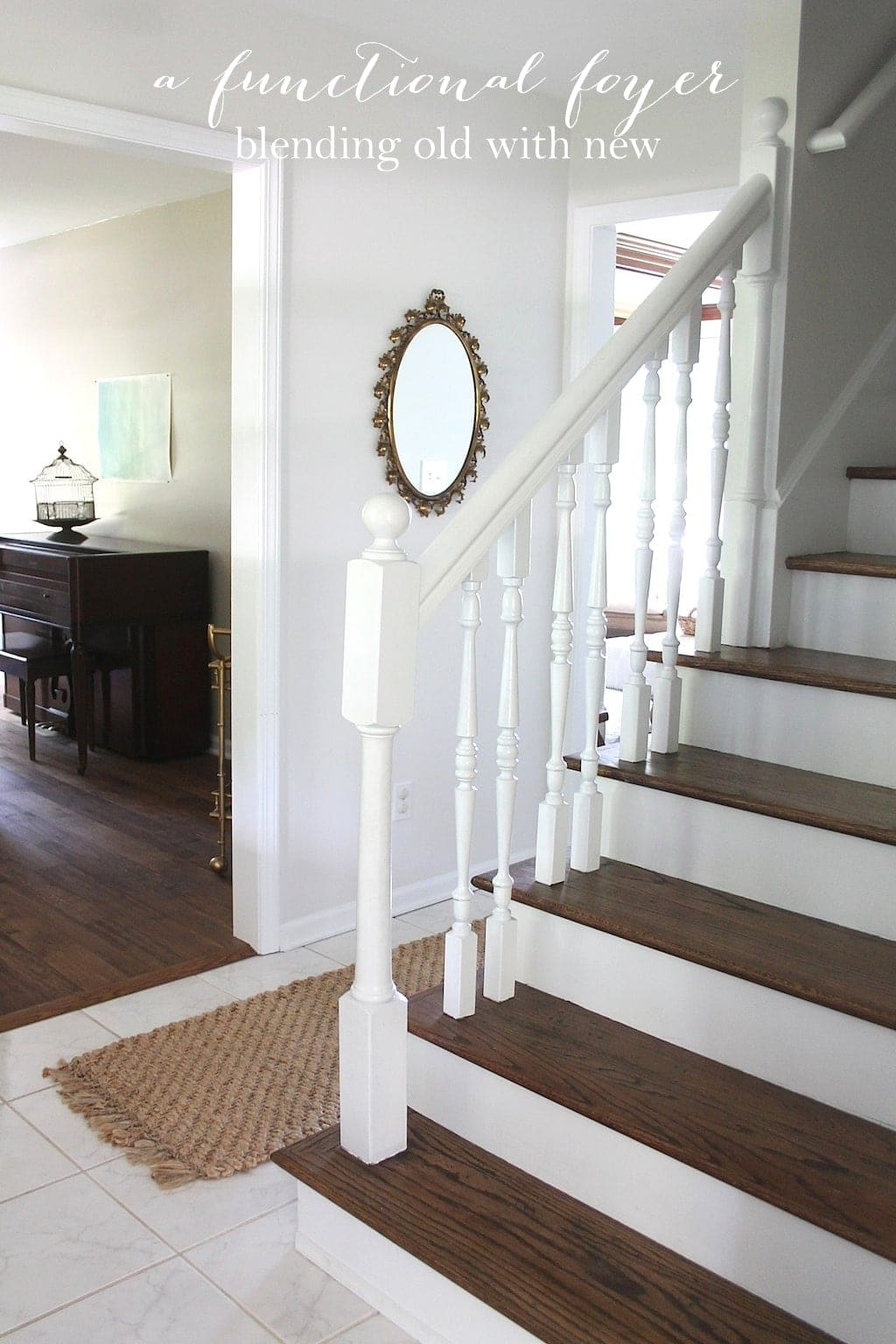 pretty foyer makeover with easy to do ideas, blending the old with new