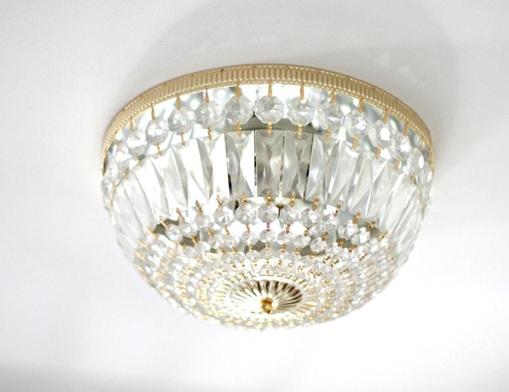 brass & crystal light fixture