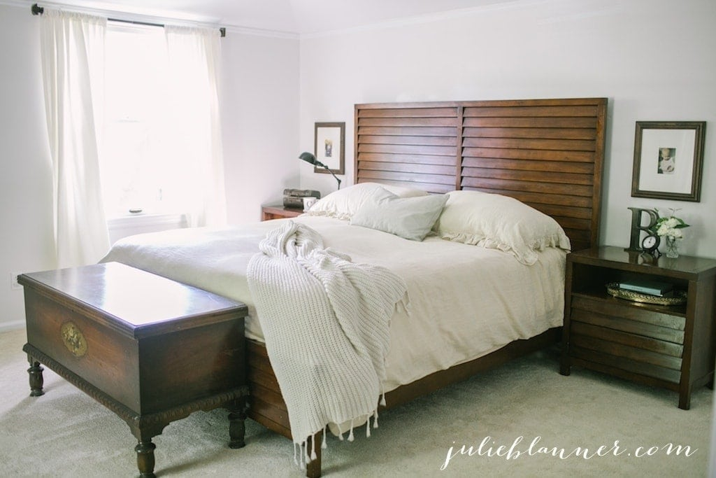 Pairing wood with neutrals - a traditional master bedroom