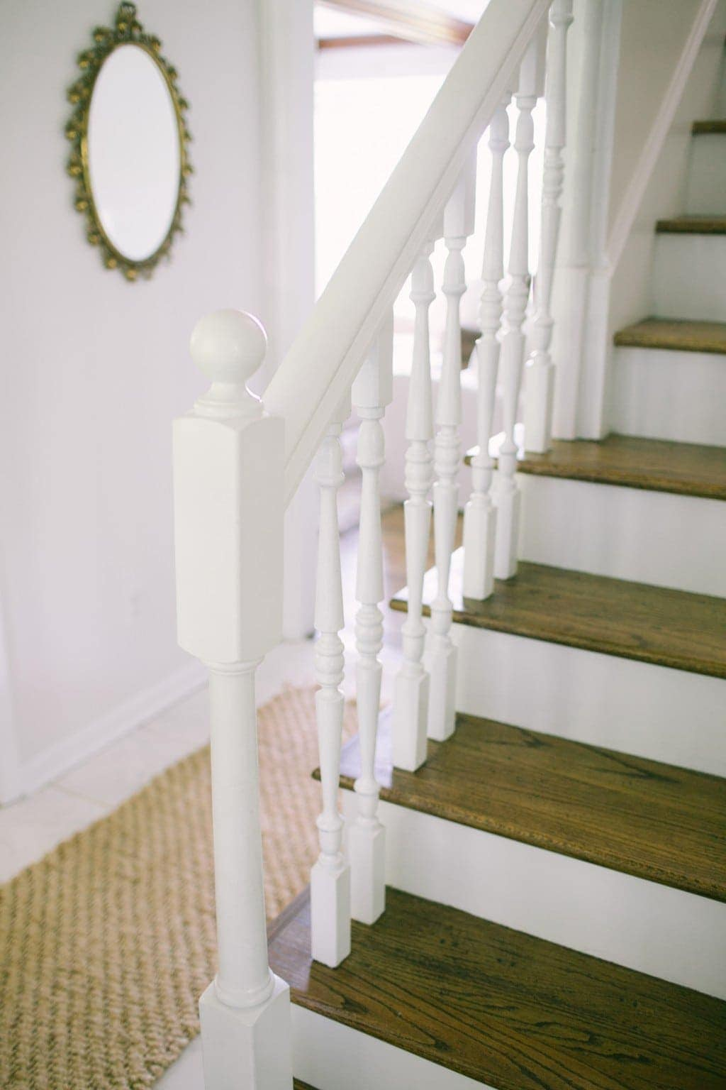 A traditional stairwell makeover, exposing the treads & risers
