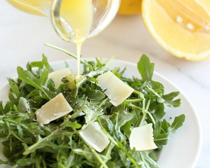 Quick and easy arugula salad with lemon vinaigrette recipe