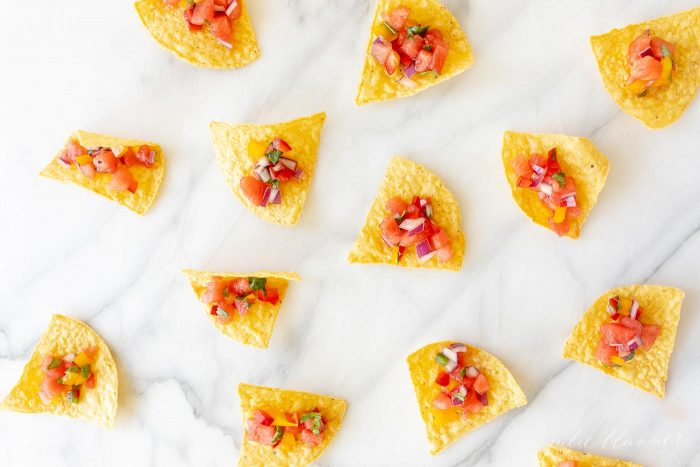 watermelon fruit salsa on chips