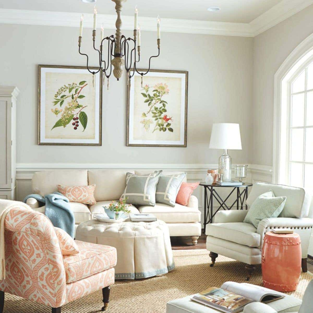 My dream home julie blanner entertaining home design for Neutral tone living room ideas