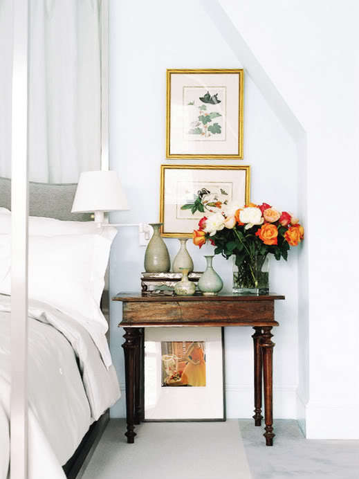 Master bedroom vignette. Bright & beautiful decor paired with soft, neutral linens