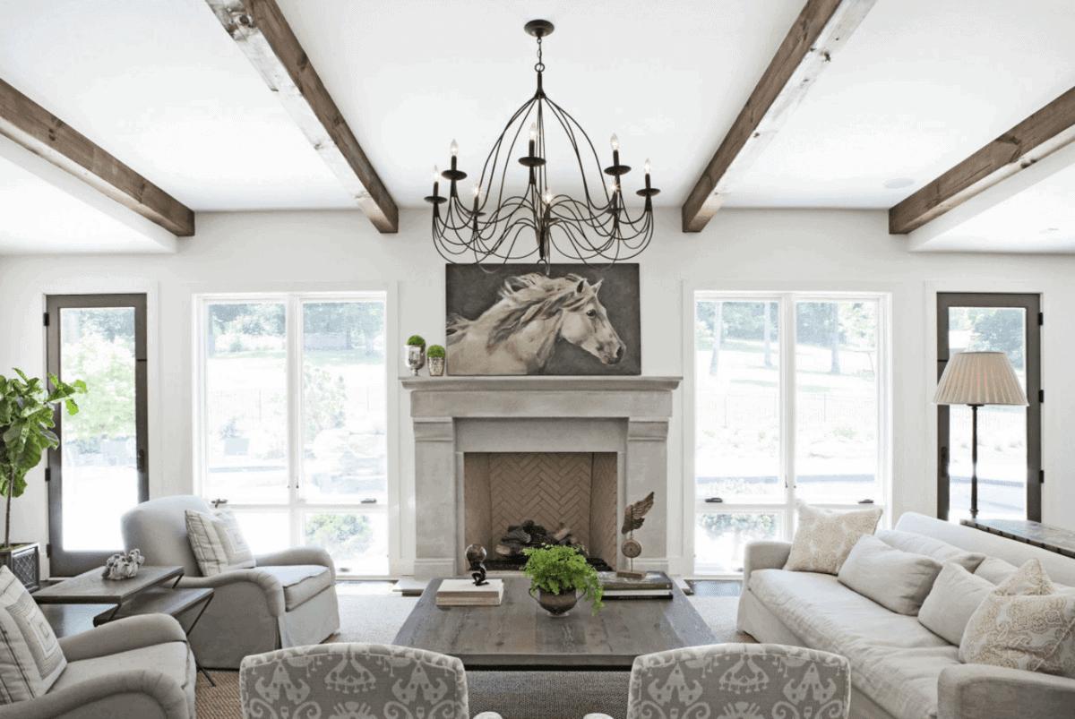 My dream home julie blanner entertaining home design for White beams living room
