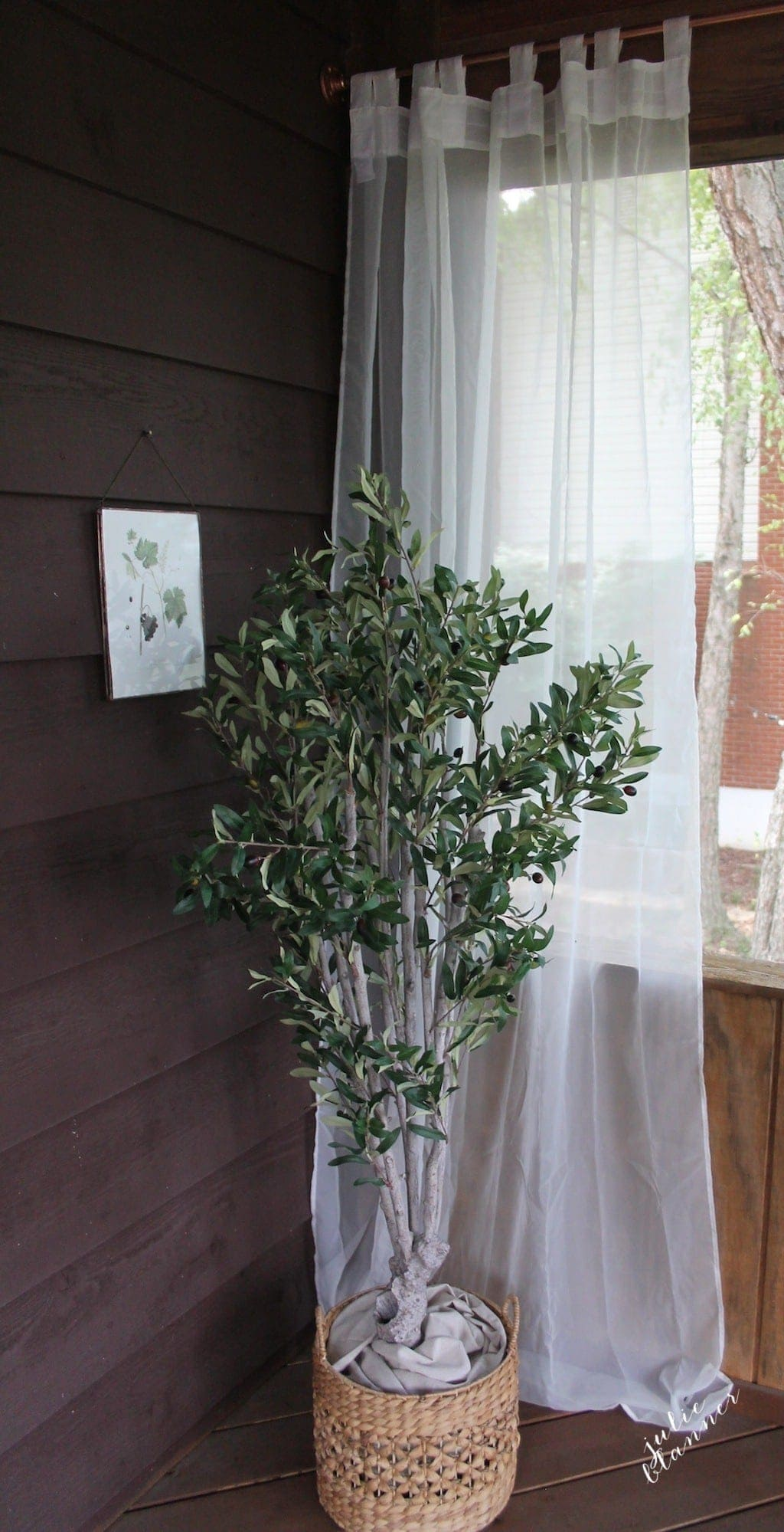 faux olive tree | decorating an outdoor space