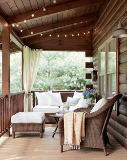Make your screened porch an extension of your home with comfortable furniture, lighting & curtains