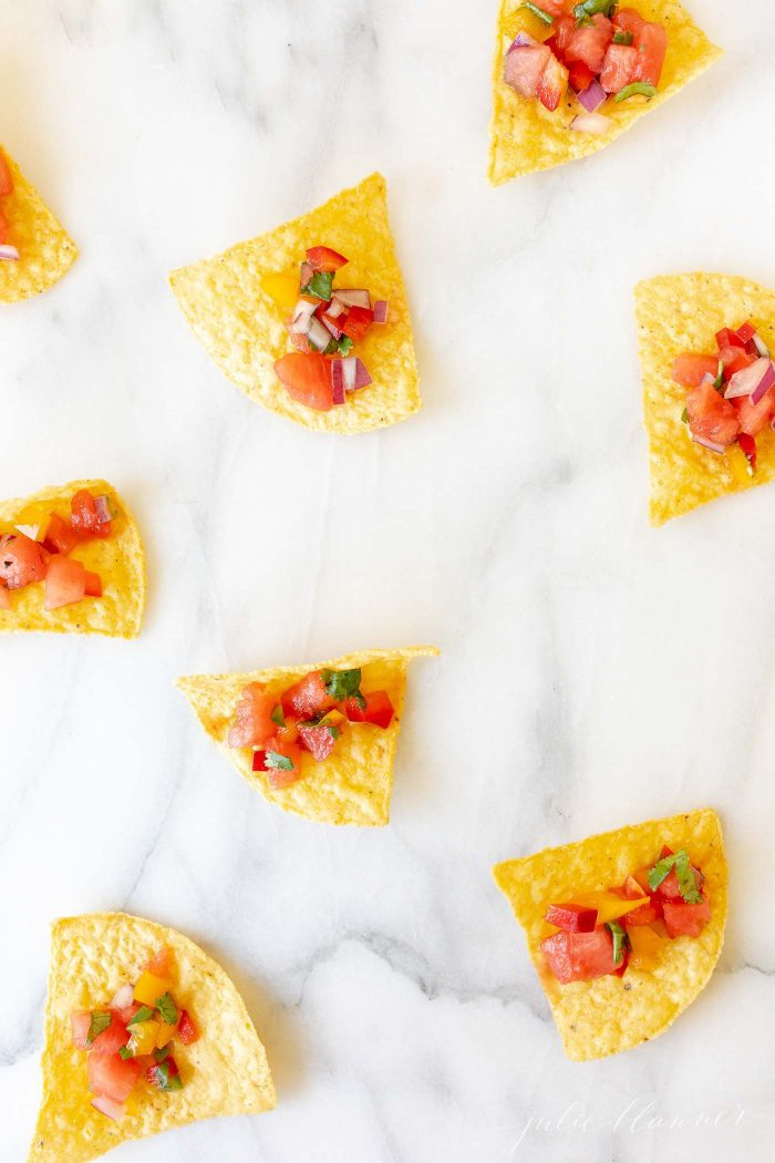 watermelon salsa on tortilla chips