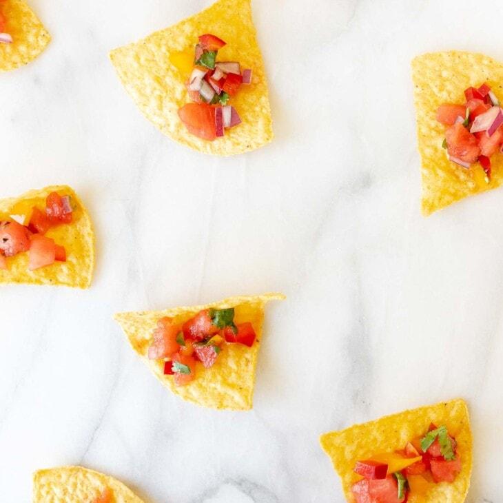 watermelon salsa on tortilla chips