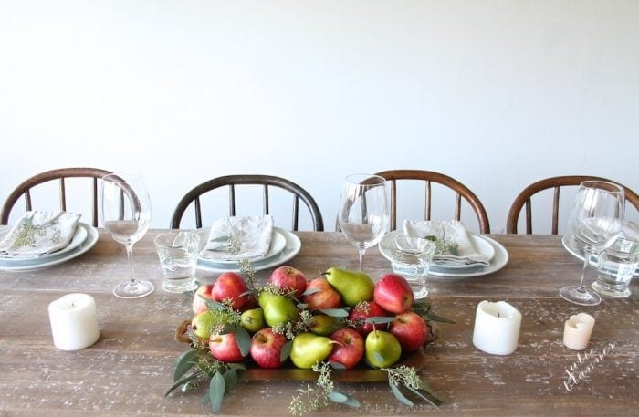 nature inspired tablescape with apples and pears