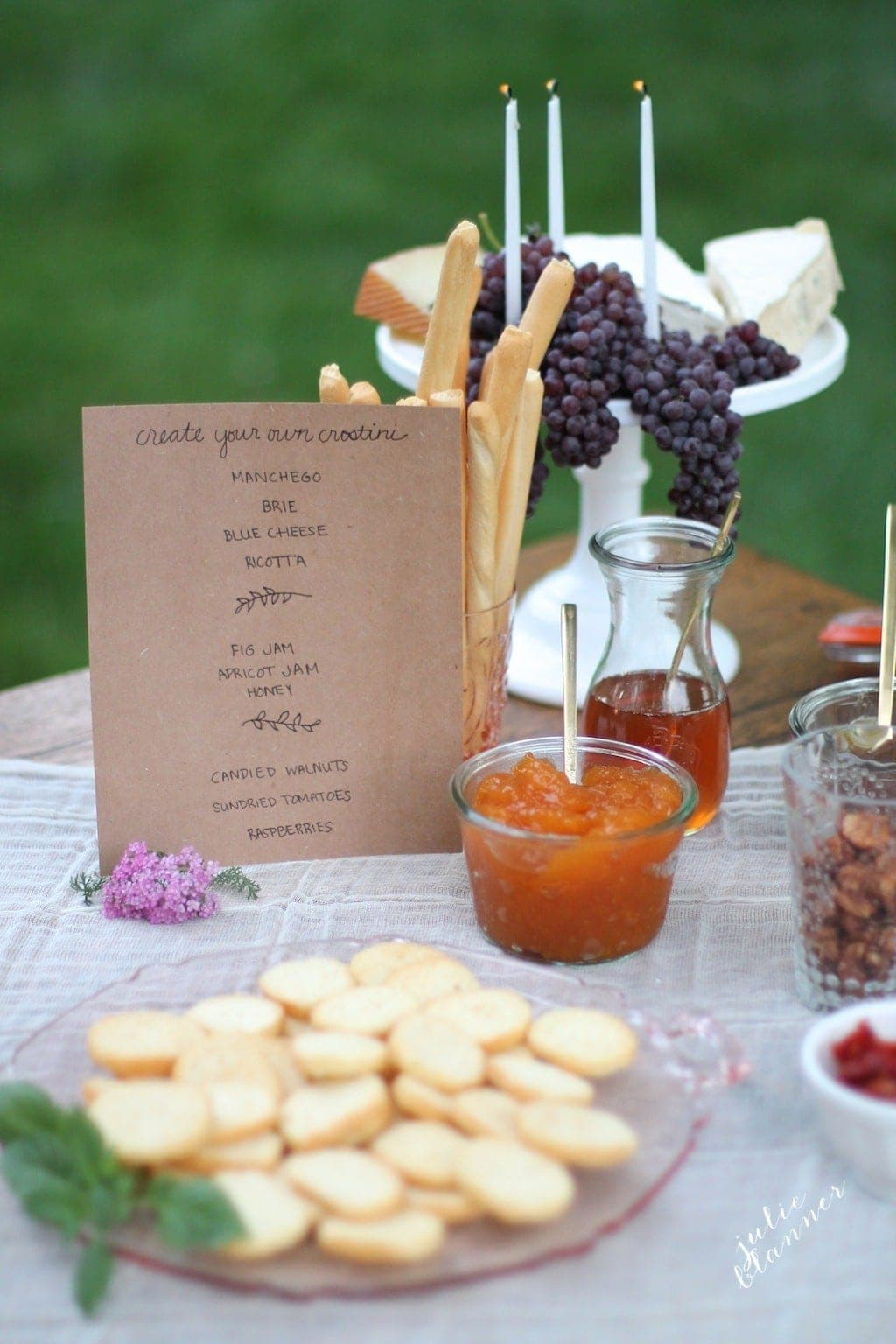 Dinner Party Ideas | set up an hors d'oeuvres bar with edible decor