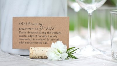 Dinner Party Ideas | use wine notes to help guests select their perfect glass