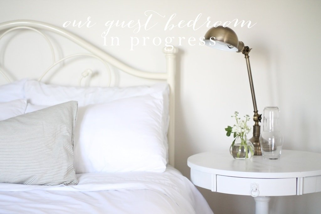 The makings of a guest room | a neutral botanical guest bedroom