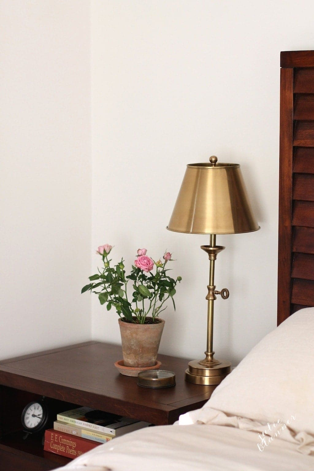 side table decor - brass task lamp