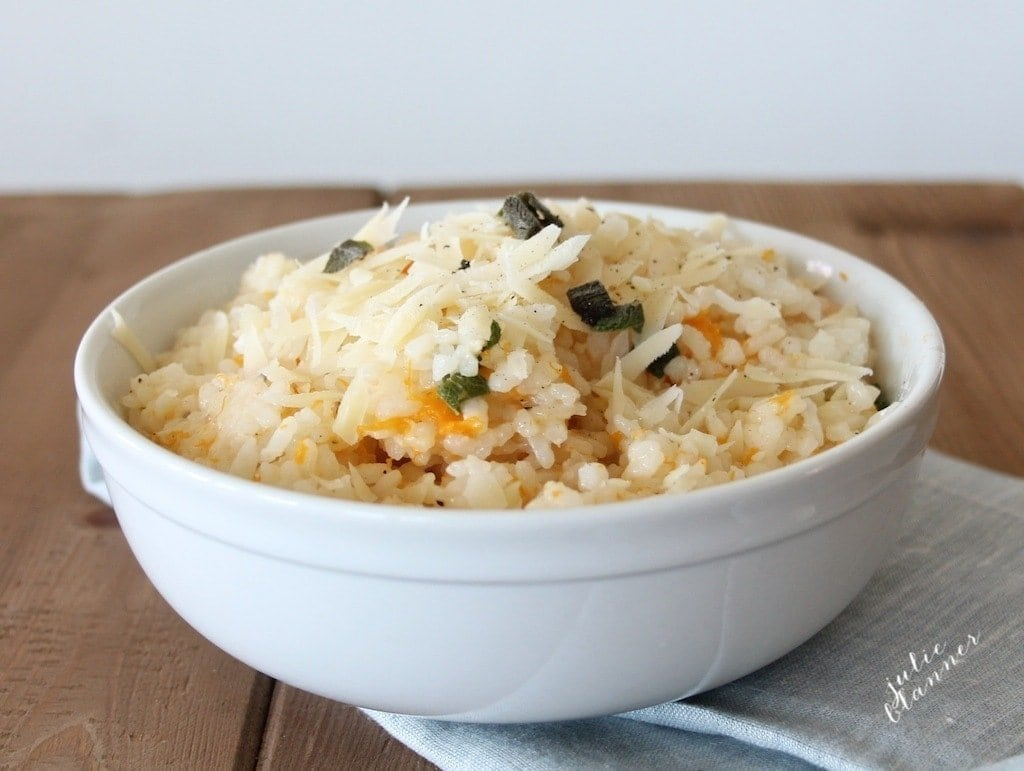 Easy & filling butternut squash risotto with aged cheddar