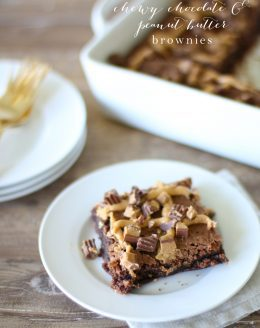 Chewy Chocolate & Peanut Butter Brownie recipe - in just a few minutes! You'll never buy another box mix!