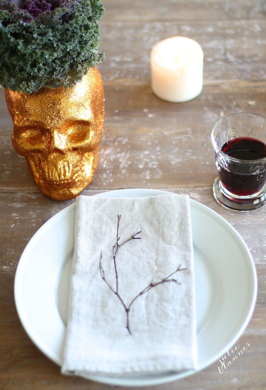 Pretty Halloween Party Table Setting