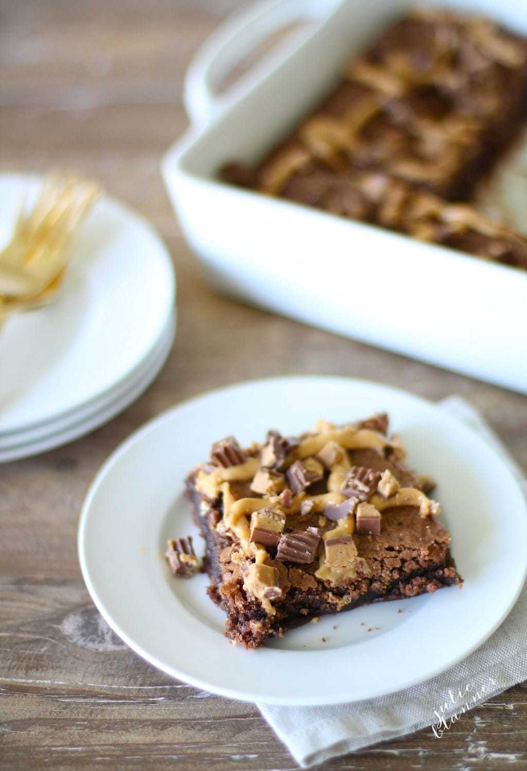 5 Minute Brownies with Peanut Butter Ganache - you'll never use a mix again!