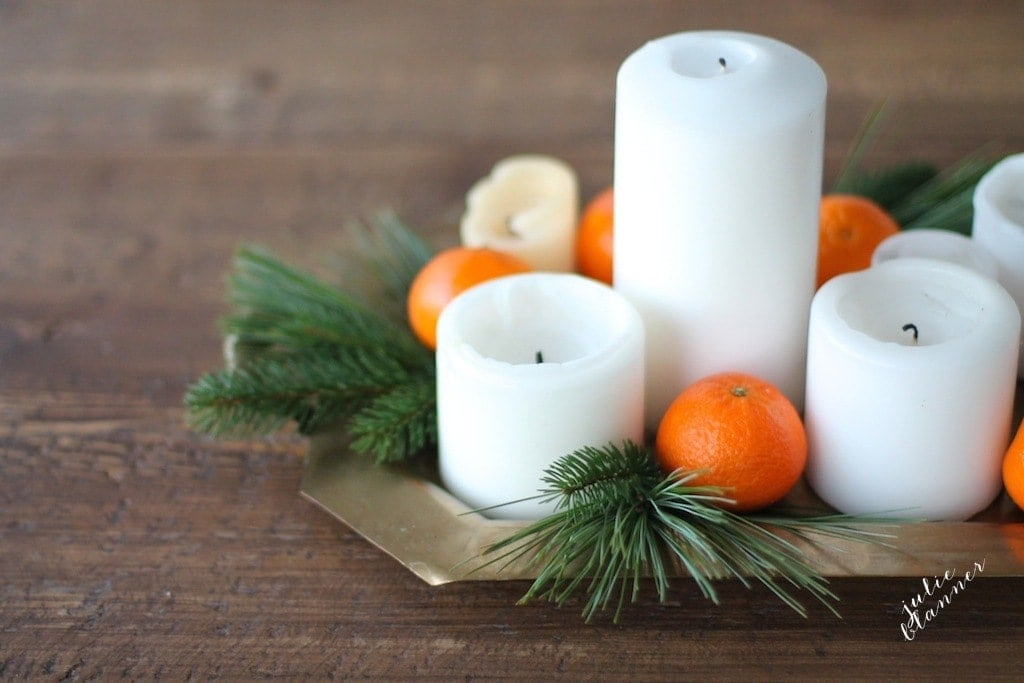 Christmas candlelight dinner - learn how to make a centerpiece in minutes with things you already have!